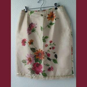 Donna Morgan 100% Silk Floral Skirt Sz 10
